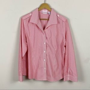 Chico's Red and White Striped Button Down Shirt